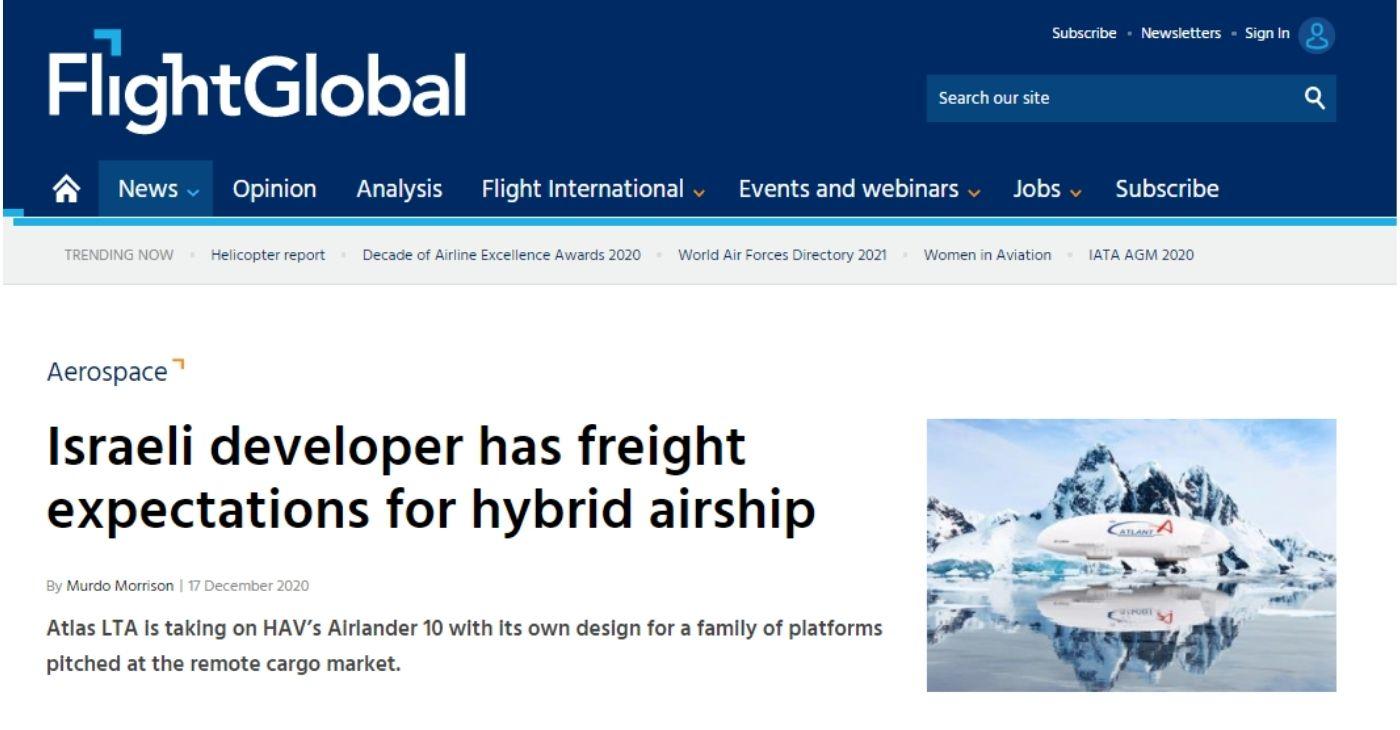 Israeli developer has freight expectations for hybrid airship